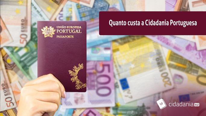 passaporte portugues e euros ao fundo
